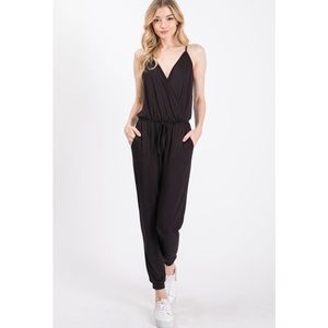 'Shri' Crossover Jersey French Terry Jumpsuit